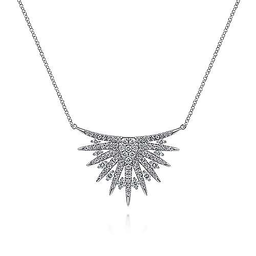 14K White Gold Diamond Mini Bib Pendant Necklace