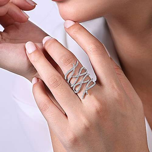 14K White Gold Diamond Multi Row Twisted Vine Ring