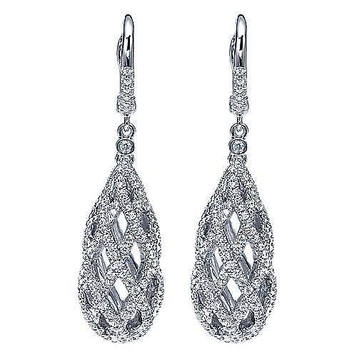 14K White Gold Diamond Netting Orb Drop Earrings