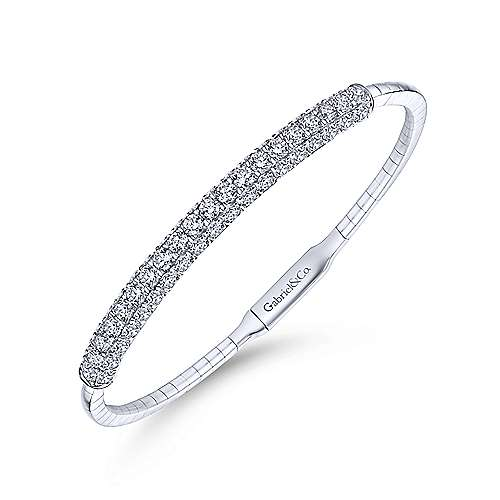 14K White Gold Diamond Pavé Bangle
