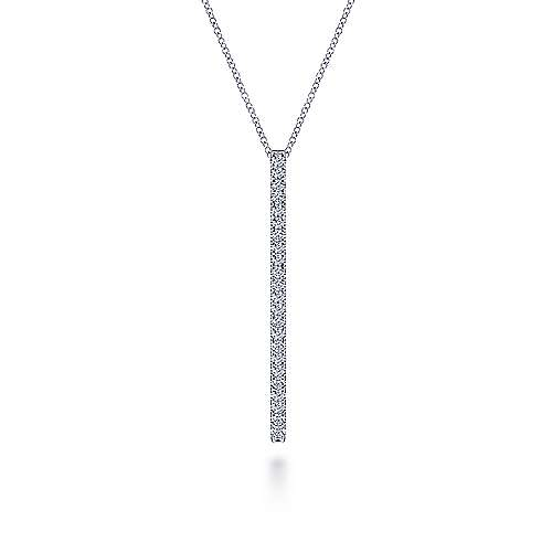 14K White Gold Diamond Pavé Bar Pendant Necklace