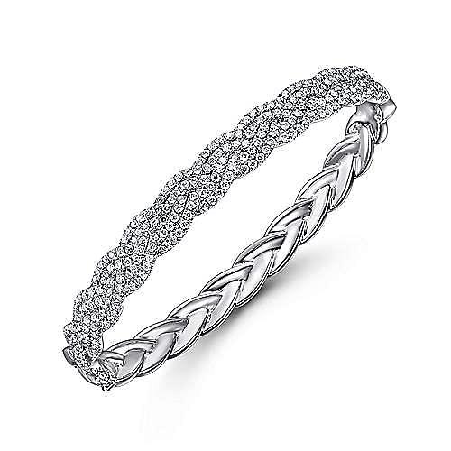 14K White Gold Diamond Pavé Braided Bangle