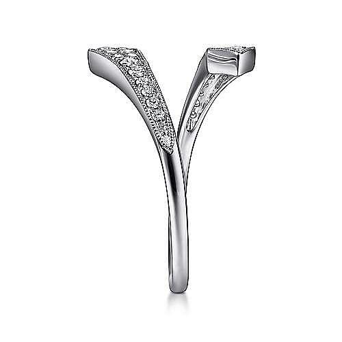 14K White Gold Diamond Pavé Bypass Open Ring