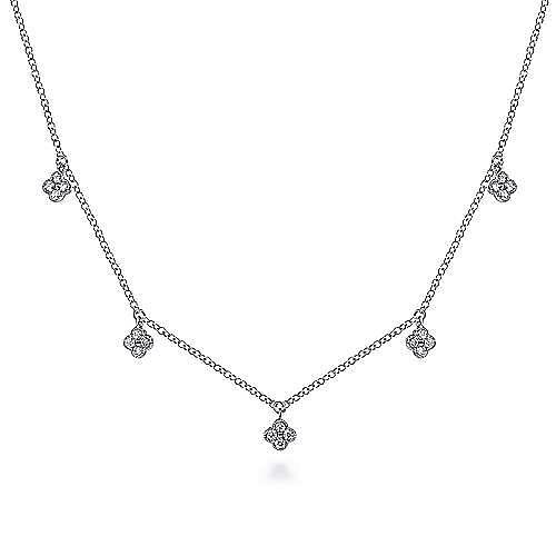 14K White Gold Diamond Pavé Clover Drop Necklace
