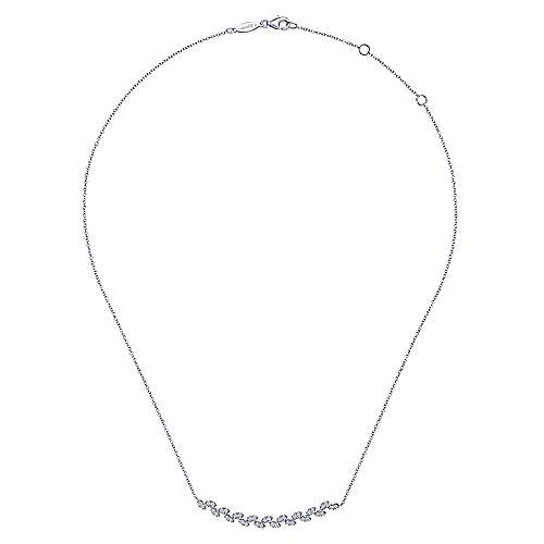 14K White Gold Diamond Pavé Curved Bar Leaf Necklace