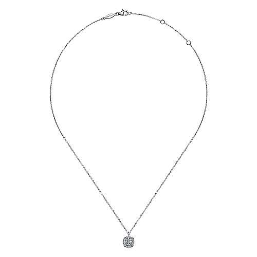 14K White Gold Diamond Pavé Cushion Shaped Pendant Necklace