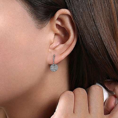 14K White Gold Diamond Pavé Disc Drop Earrings