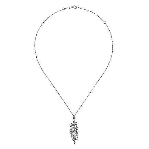 14K White Gold Diamond Pavé Feather Pendant Necklace