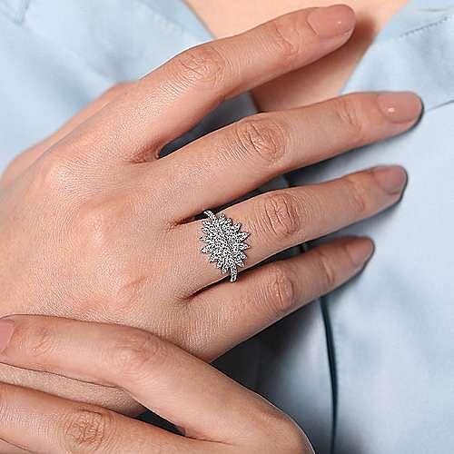 14K White Gold Diamond Pavé Flower Burst Ring