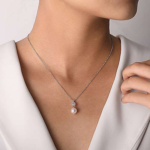 14K White Gold Diamond Pavé Halo and Pearl Drop Pendant Necklace