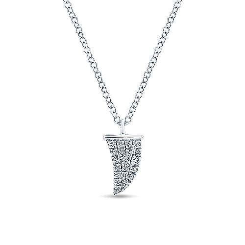 14K White Gold Diamond Pavé Horn Pendant Necklace