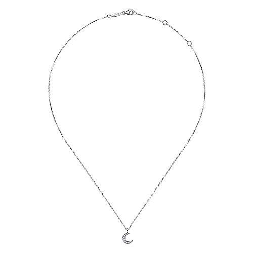 14K White Gold Diamond Pavé Moon Pendant Necklace