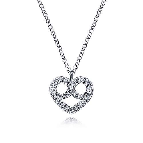 14K White Gold Diamond Pavé Pretzel Heart Pendant Necklace