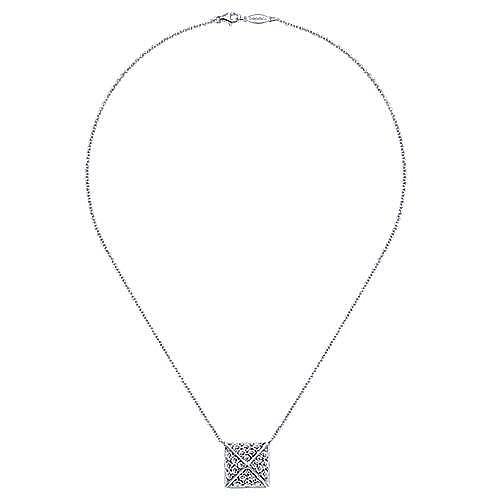 14K White Gold Diamond Pavé Pyramid Pendant Necklace