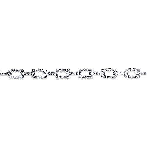 14K White Gold Diamond Pavé Rectangular Link Tennis Bracelet