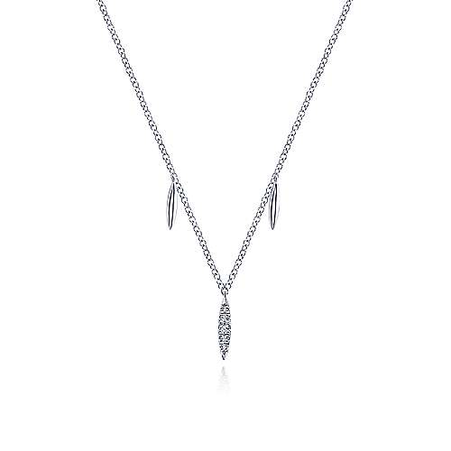 14K White Gold Diamond Pavé Spear Drop Necklace