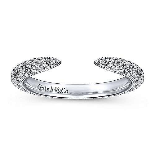 14K White Gold Diamond Pavé Split Ring