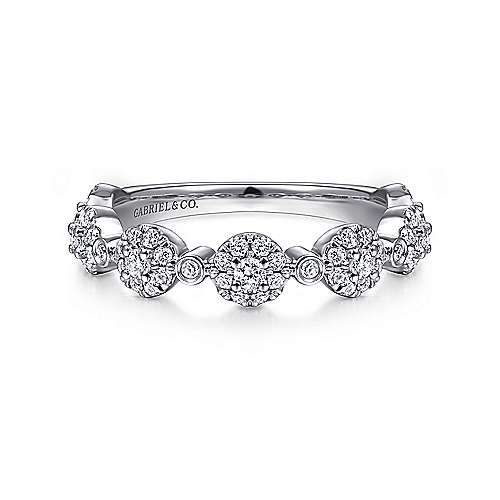 14K White Gold Diamond Pavé Station Stackable Ring