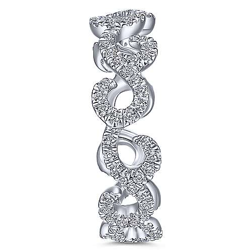 14K White Gold Diamond Pavé Swirling Eternity Ring