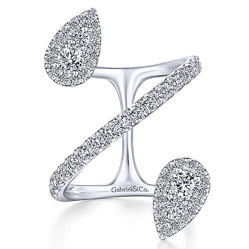 14K White Gold Diamond Pavé Teardrops Wrap Ring