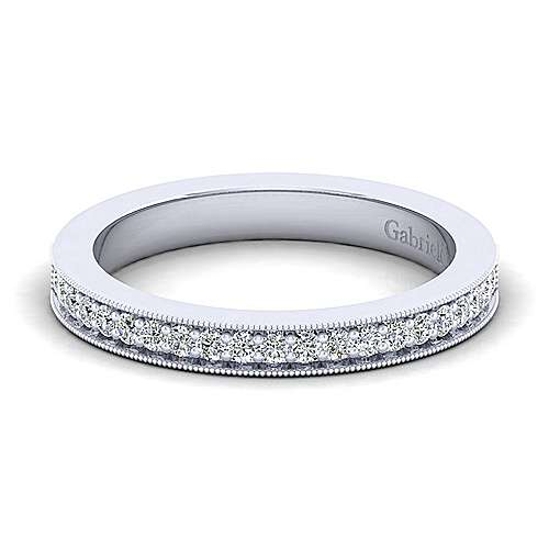 14K White Gold Diamond Prong Channel Diamond Anniversary Band with Millgrain