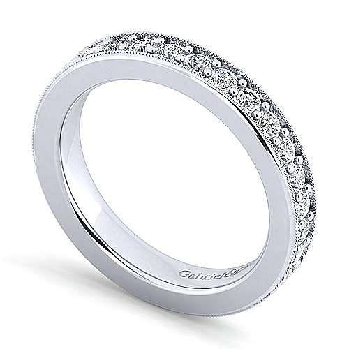 14K White Gold Diamond Prong Channel Diamond Anniversary Band with Millgrain