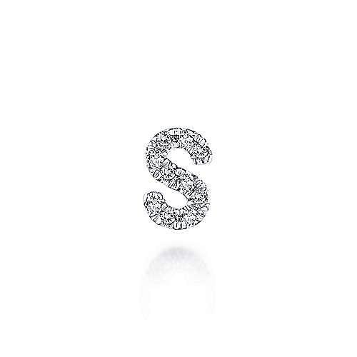 14K White Gold Diamond S Pendant