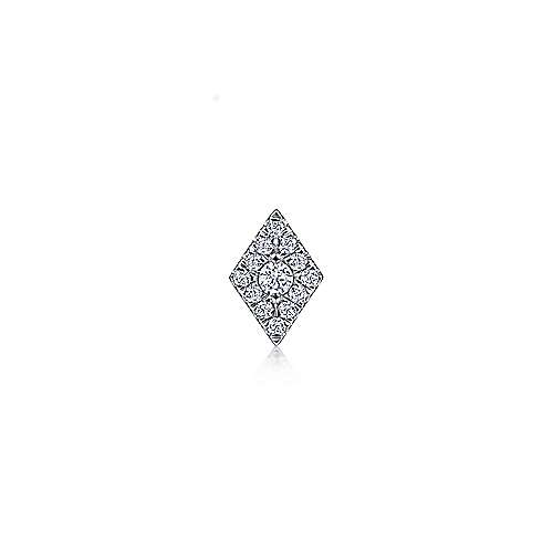 14K White Gold Diamond Single Stud Earring