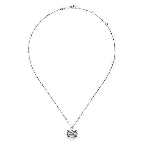 14K White Gold Diamond Snowflake Pendant Necklace