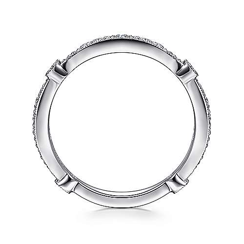 14K White Gold Diamond Stackable Band with Millgrain Accent