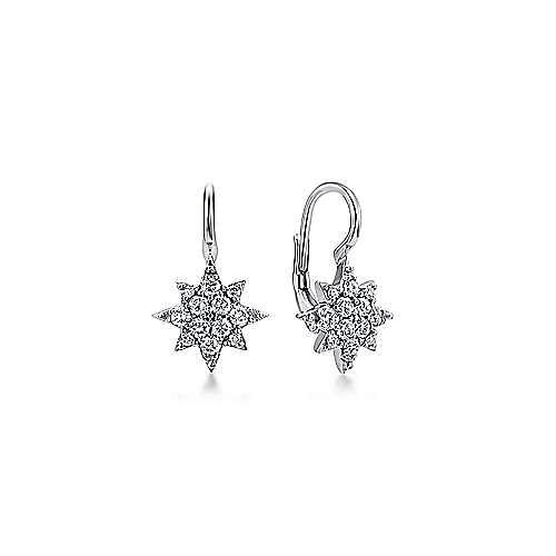 14K White Gold Diamond Star Drop Earrings