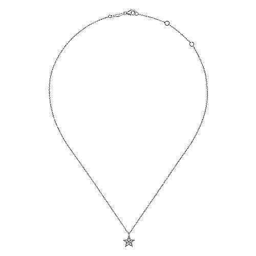 14K White Gold Diamond Star Pendant Necklace