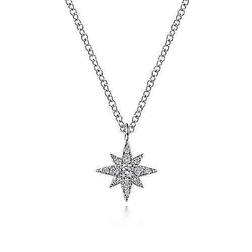 14K White Gold Diamond Star Pendant Pendant Necklace