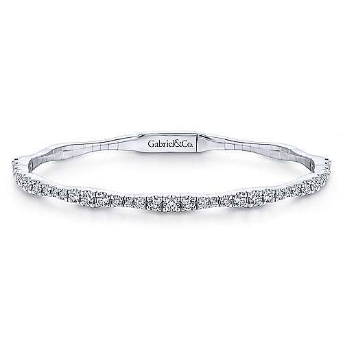 14K White Gold Diamond Station Bangle