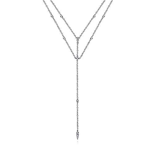 14K White Gold Diamond Station Layered Y Necklace