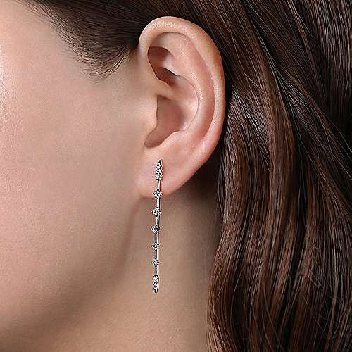 14K White Gold Diamond Station Long Bar Stud Earrings