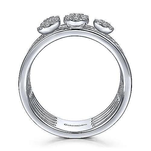 14K White Gold Diamond Station Multi Row Ring