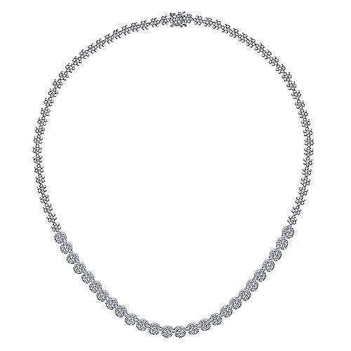 14K White Gold Diamond Station Necklace