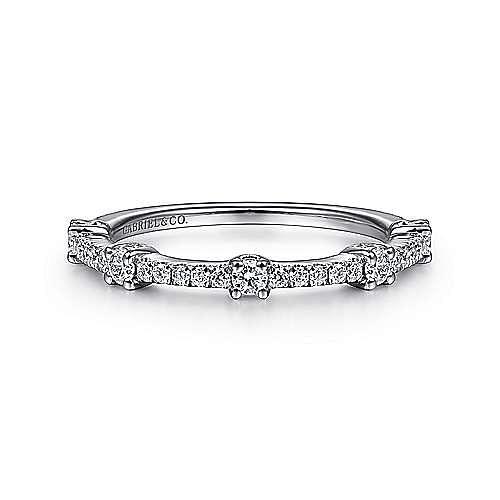 14K White Gold Diamond Station Stackable Ring
