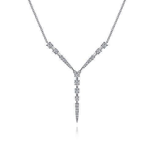 14K White Gold Diamond Station Y Necklace
