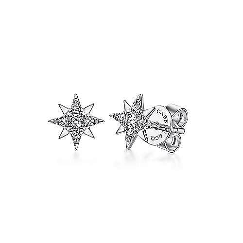 14K White Gold Diamond Stud Star Earrings