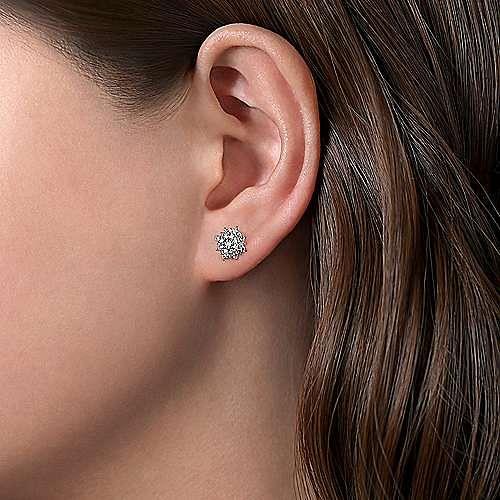 14K White Gold Diamond Sunburst Stud Earrings