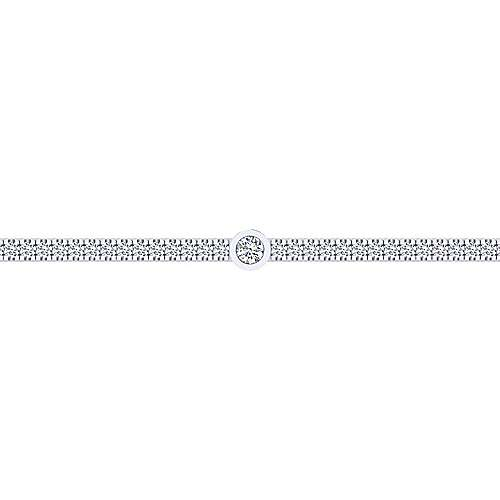 14K White Gold Diamond Tennis Bracelet with Bezel Set Diamond Stations