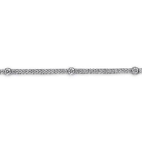 14K White Gold Diamond Tennis Bracelet with Bezel Set Diamond Stations