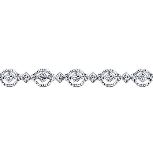 14K White Gold Diamond Tennis Bracelet with Circular Frames