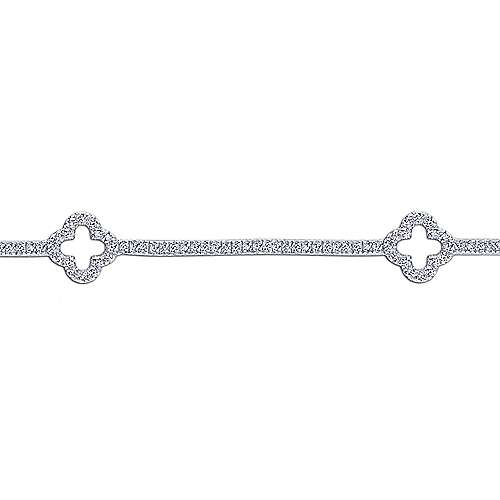 14K White Gold Diamond Tennis Bracelet with Clover Stations