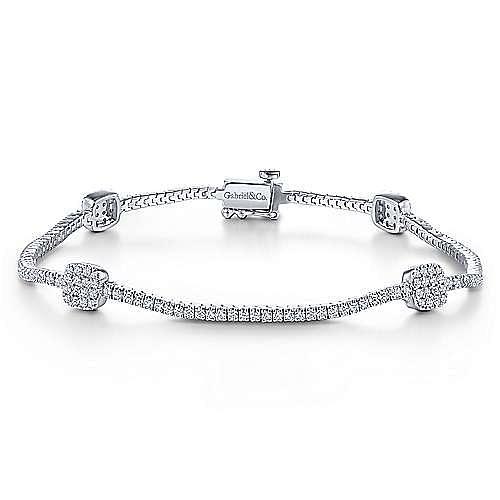 14K White Gold Diamond Tennis Bracelet with Diamond Cube Stations