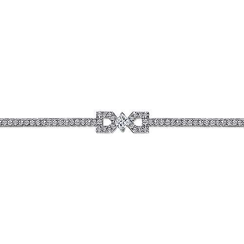 14K White Gold Diamond Tennis Bracelet with Geometric Stations