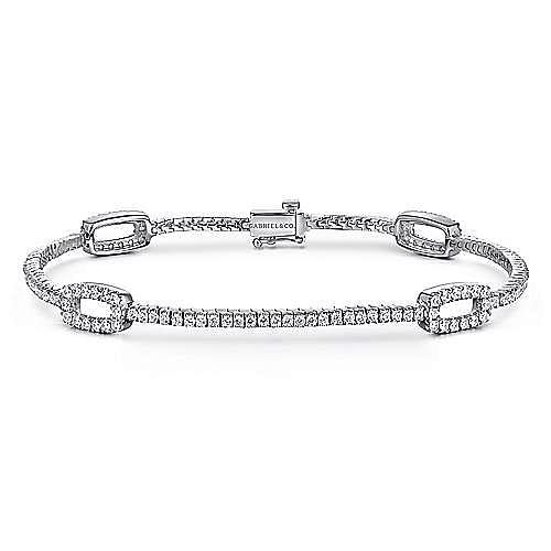 14K White Gold Diamond Tennis Bracelet with Rectangular Link Stations