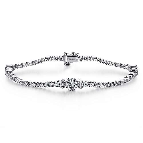 14K White Gold Diamond Tennis Bracelet with Round Cluster Stations